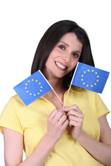 Woman with paper flags