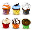 Vector Illustration of Colorful Halloween Cupcakes