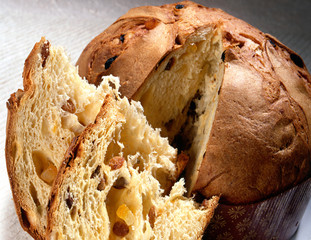 Slices of Christmas panettone