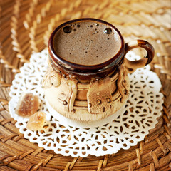 Cup of coffee with brown sugar caramel