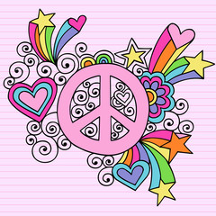 Peace Sign Groovy Psychedelic Retro Doodles