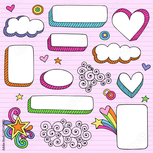 Back to School Picture Frame Groovy Doodles Vector Set