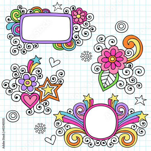 Picture Frames Groovy Doodles Vector Design Elements