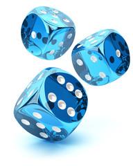 Blue transparent dices