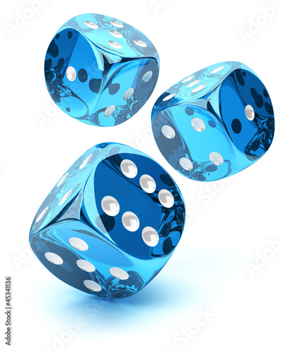 Blue transparent dices