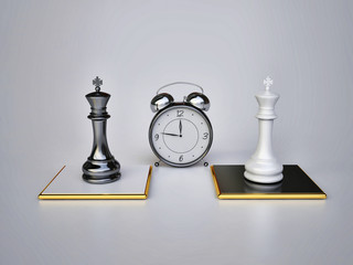 Chess Concept with Alarm Clock