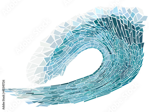 Vector illustration mosaic of wave with foam.
