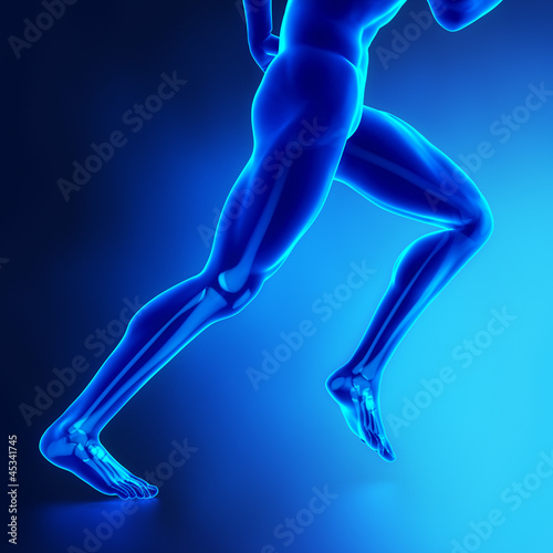 Running man legs with visibel bones
