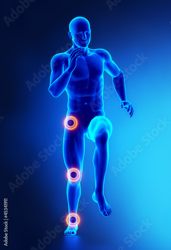 Joints leg injury concept frontal view