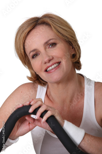 Portrait of blond woman wearing gym clothing