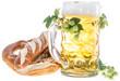 Mug of Beer and Pretzels on white