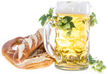 Mug of Beer and Pretzels on white