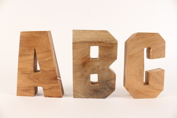 ABC text animation with wooden letters version 1