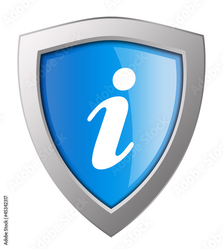Information shield isolated on white background