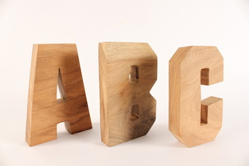 ABC text animation with wooden letters version 2