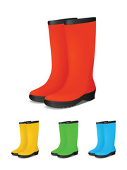 Set of colored safety rubber boots