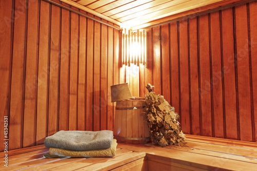 Sauna with ready accessories for washing