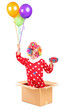 Clown holding balloons and a gift in a cardboard box