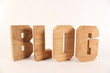 BLOG text animation with wooden letters version 2
