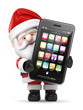 3d render of Santa Claus holding a big smart phone
