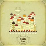 Retro card - cartoon little town - 45342795