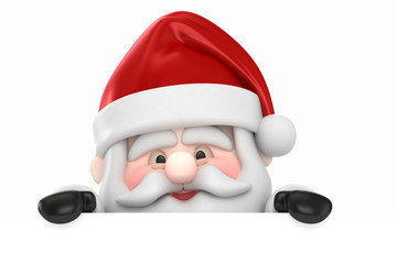 3d render of Santa Claus and  a blank board