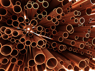 3d Copper pipes array