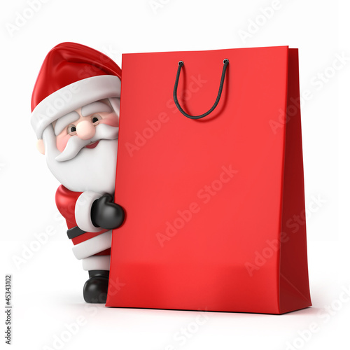 3d render of Santa Claus and a shopping bag