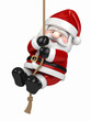 3d render of Santa Claus hanging on a rope