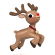 3d render of a christmas reindeer flying