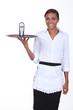 Waitress with telephone