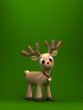 3d render of a christmas reindeer with green background