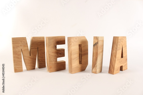 MEDIA text animation with wooden letter version 2