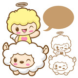 Playing cute little Sheep Angel. Sheep and Angel Character