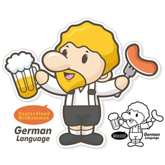 Germany, wearing traditional costumes, the men eat beer and saus