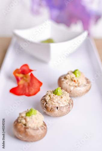 raw food mushrooms with filling