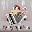 Merry Christmas Penguin playing the accordion