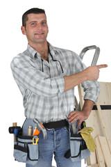 Carpenter pointing