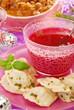 red borscht and ravioli (pierogi) for christmas