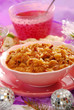 bowl of sauerkraut (bigos) with sausage for christmas