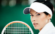 Close up of successful female tennis player
