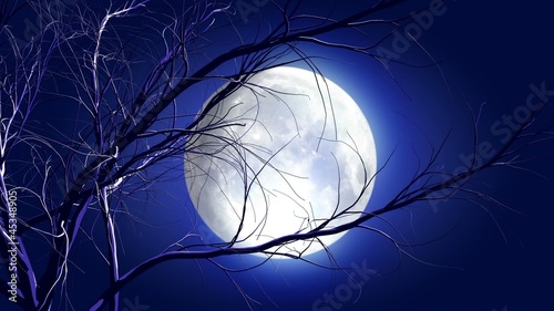 animated cartoon Halloween background with growing tree