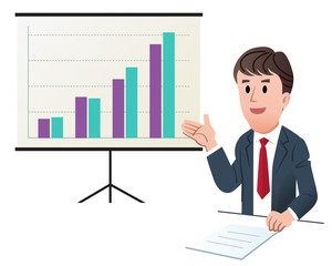 Businessman making presentation, with increasing sales graph