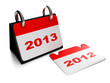 3d illustration: New Year. Changing the years 2012 to 2013 calen