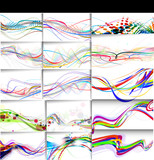 Fototapety set of abstract wave line poster with space of your text.