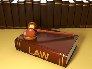 3d illustration: Legal assistance conditional. Group of books in