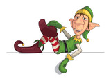 Christmas Elf Laying on an Edge