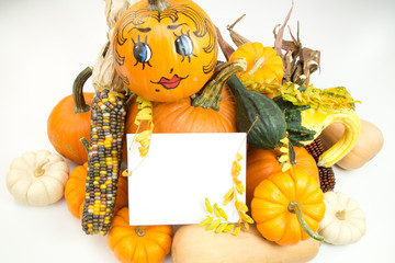 Autumn decoration with white sign