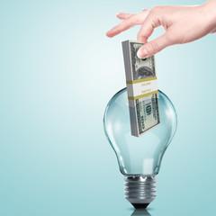 Money inside an electric light bulb