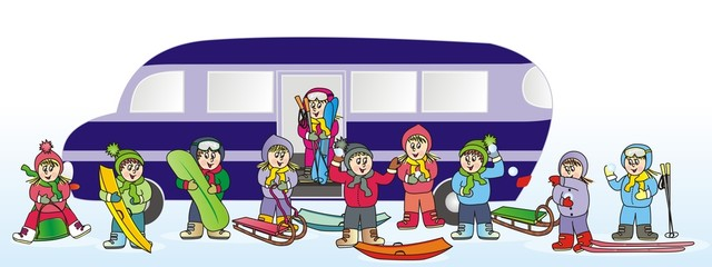 children and bus